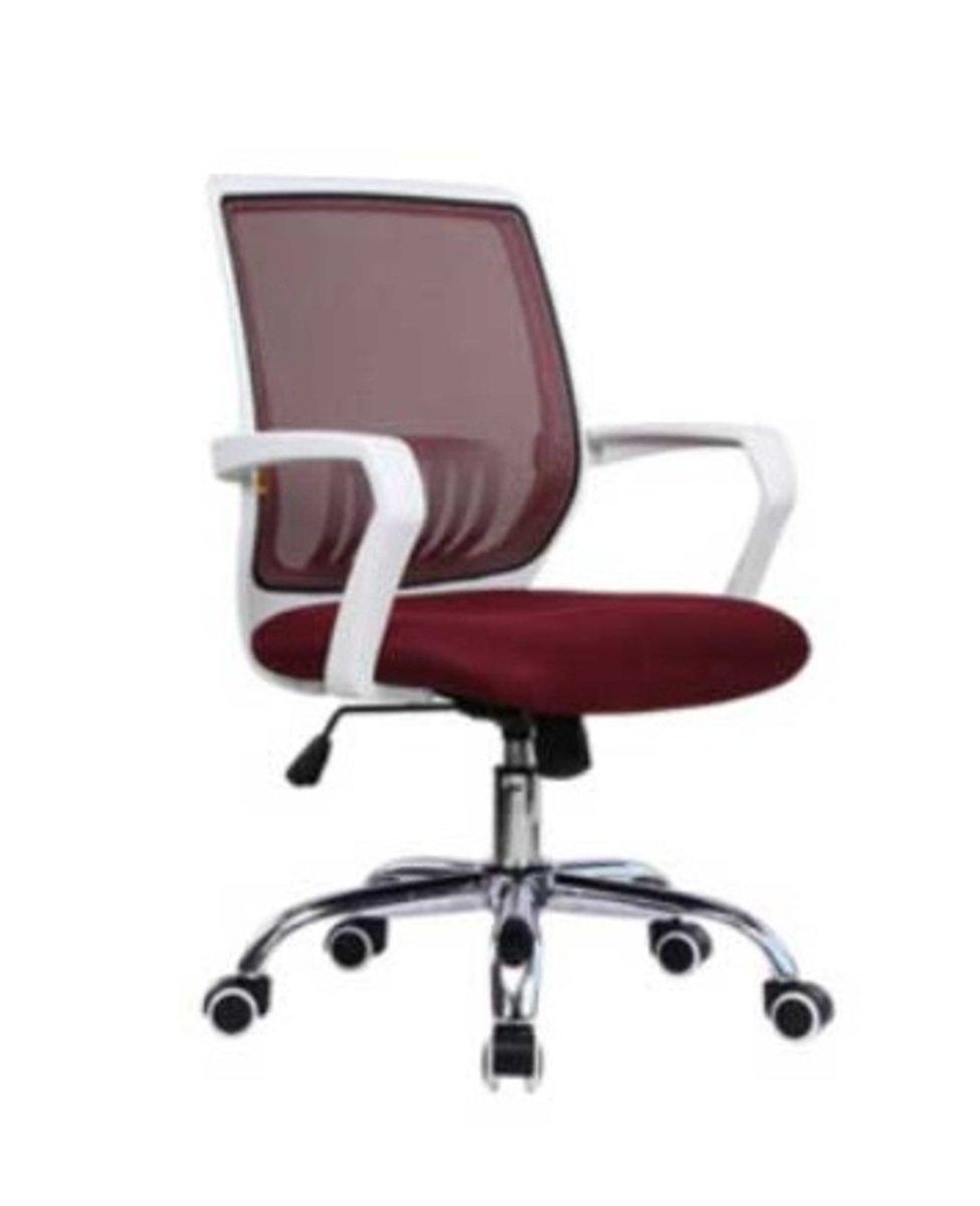 人體工學辦公椅-白框(酒紅色)