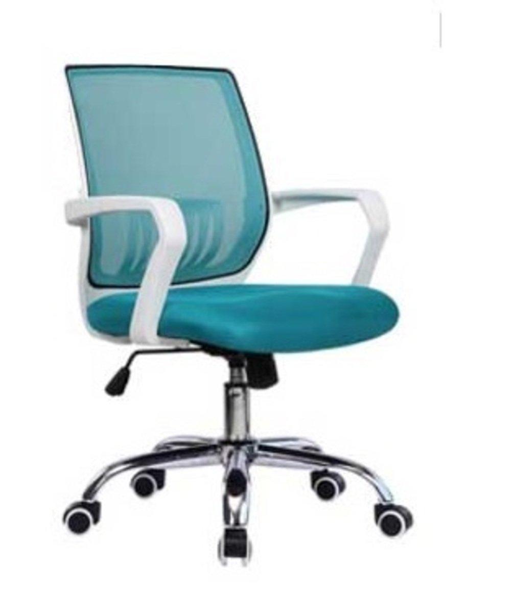 人體工學辦公椅-白框(湖藍色)