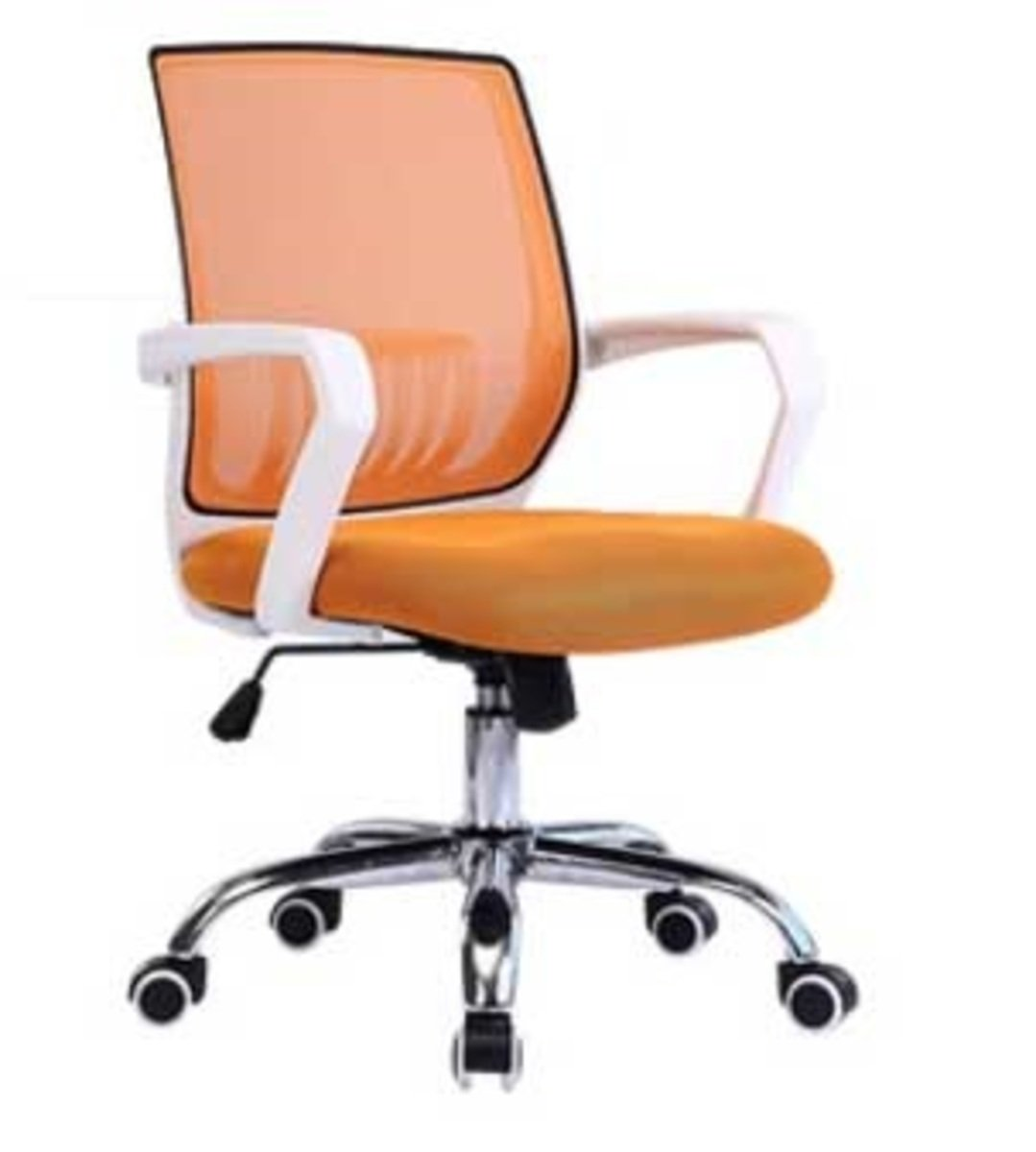人體工學辦公椅-白框(橘黃色)