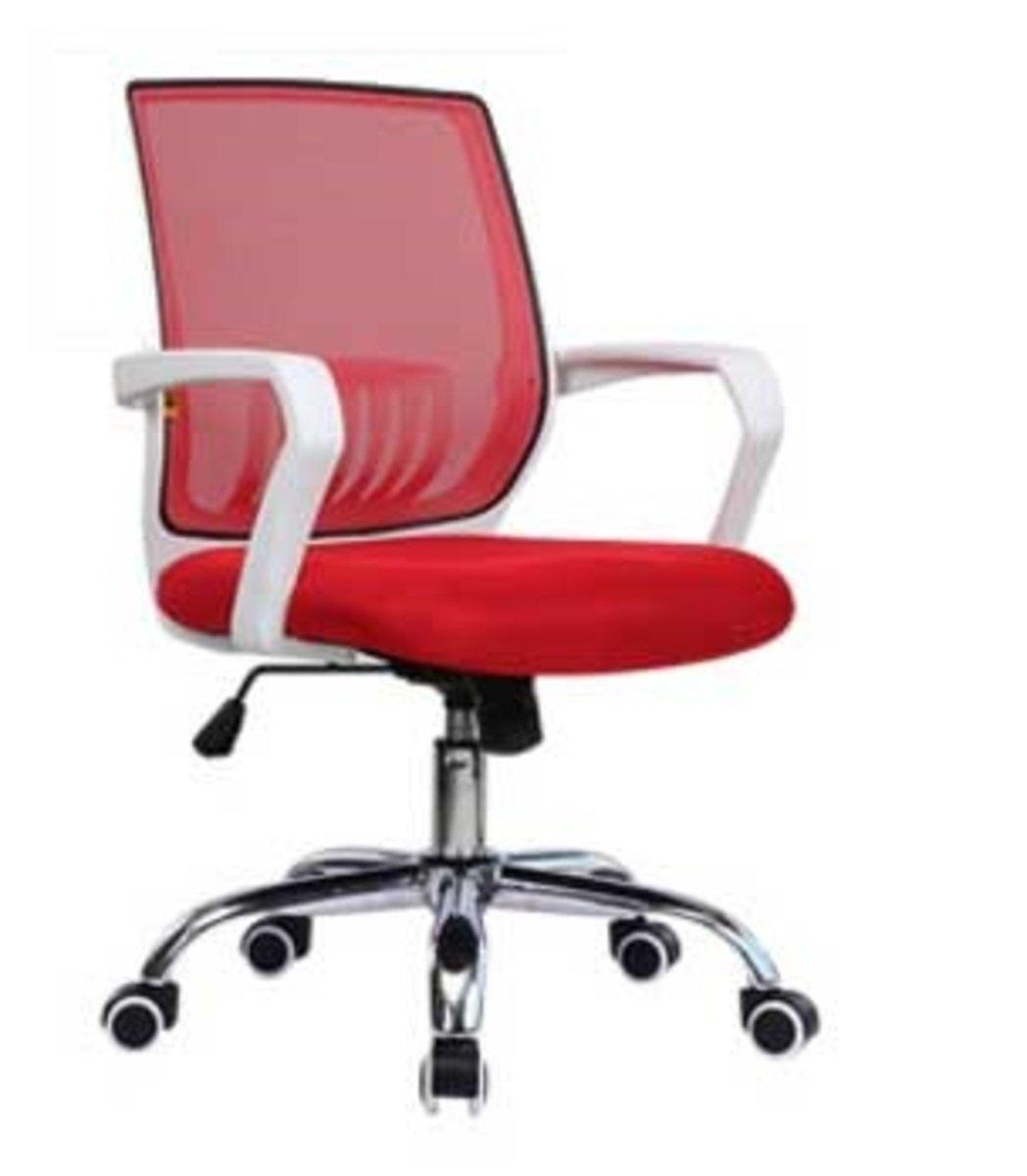 人體工學辦公椅-白框(大紅色)