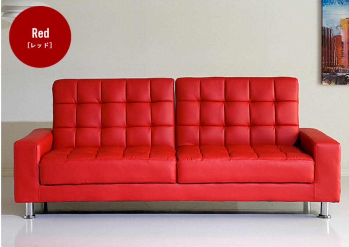 開合式PU兩用梳化床(紅色)