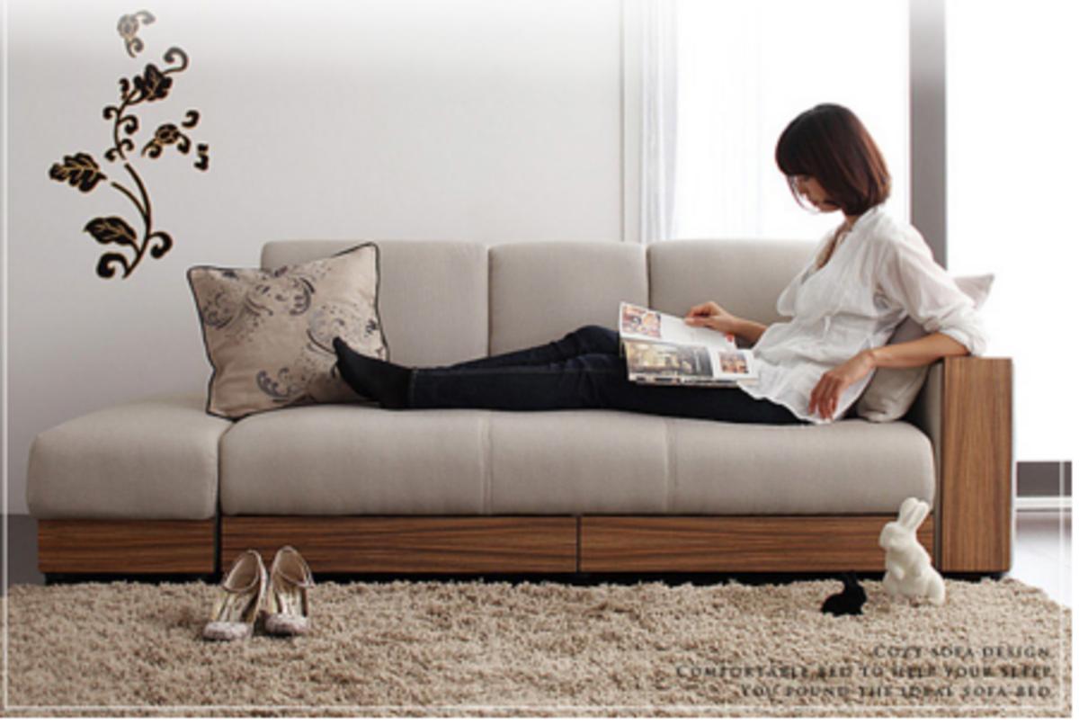 儲物梳化床連活動腳凳(米白色)