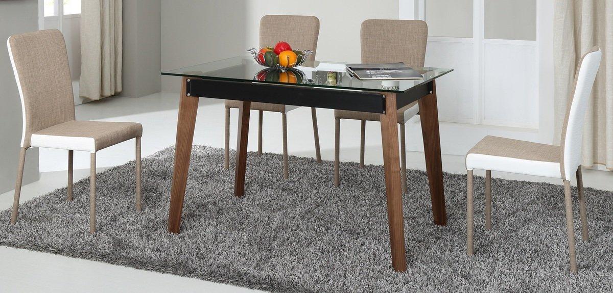 清玻璃實木餐桌