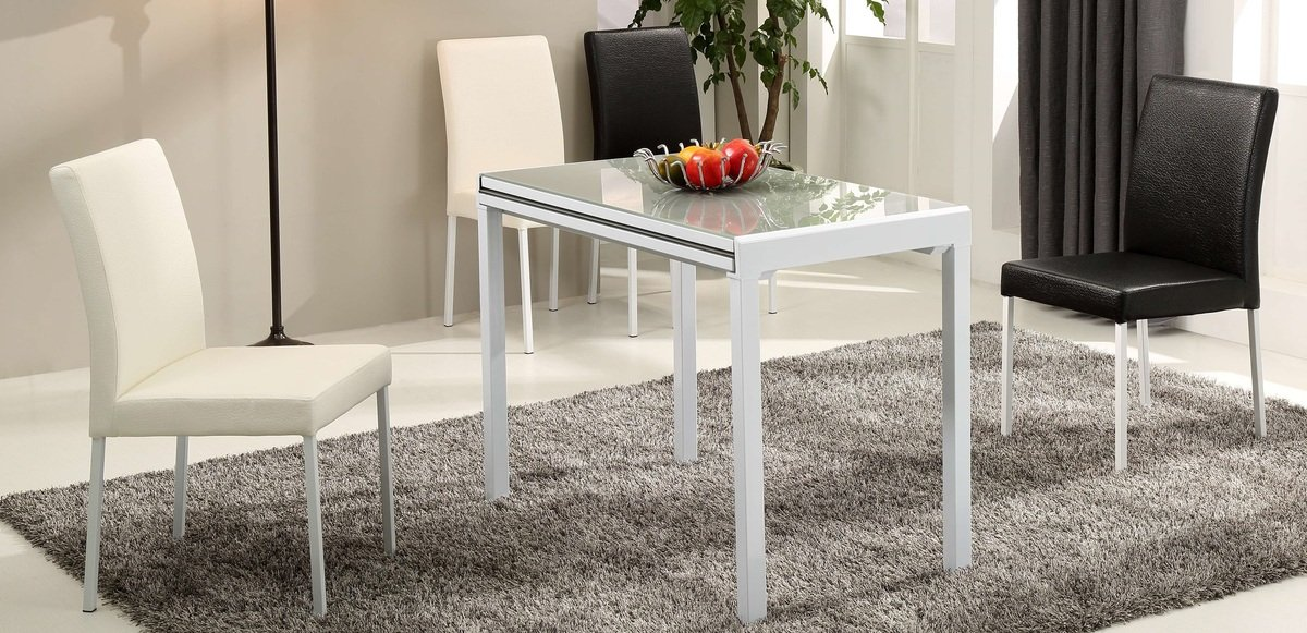 灰色玻璃開合餐桌