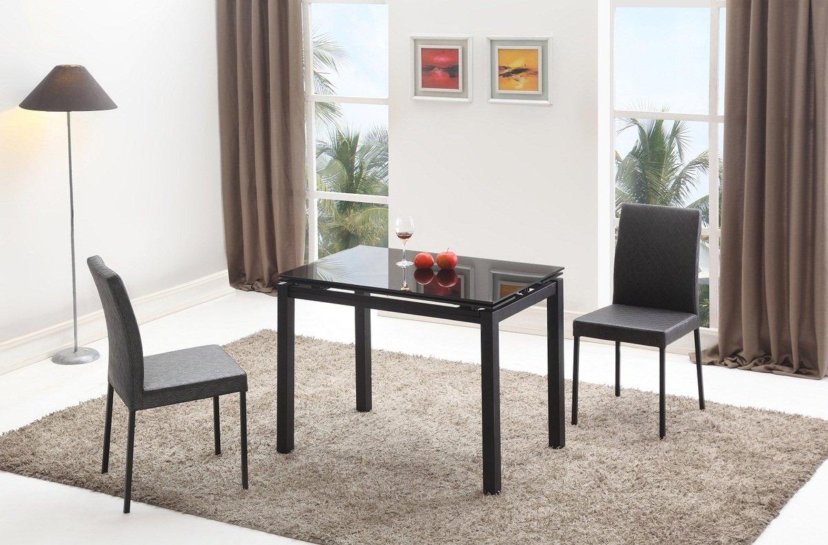 黑玻璃開合餐桌
