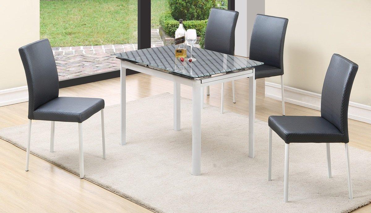 灰底黑玻璃開合餐桌