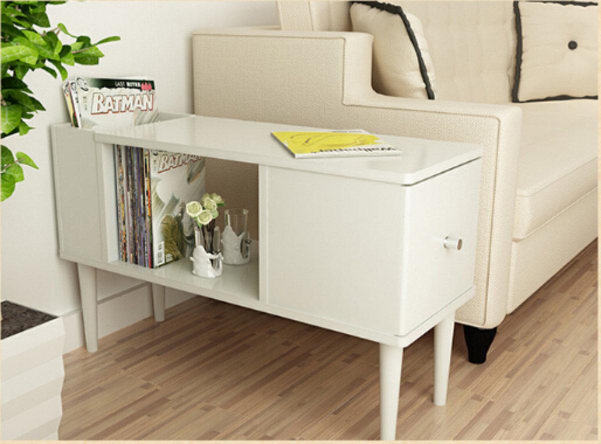 多用途邊几書桌(白色)