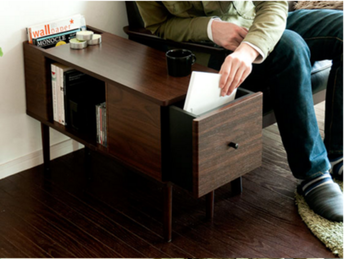 多用途邊几書桌(胡桃木色)