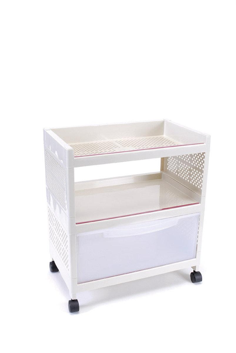 三層帶櫃組合層架 (米色/灰色)(顏色隨機派送)