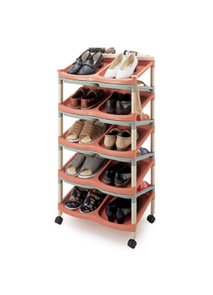 九層雙面雙對鞋架 (黑色/彩色)(顏色隨機派送)