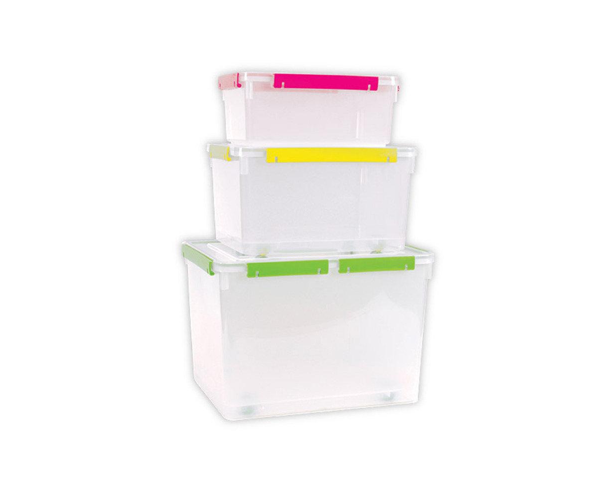 3套裝手提密封儲物箱 (紅色/藍色/黃色/青色)(顏色隨機派送)
