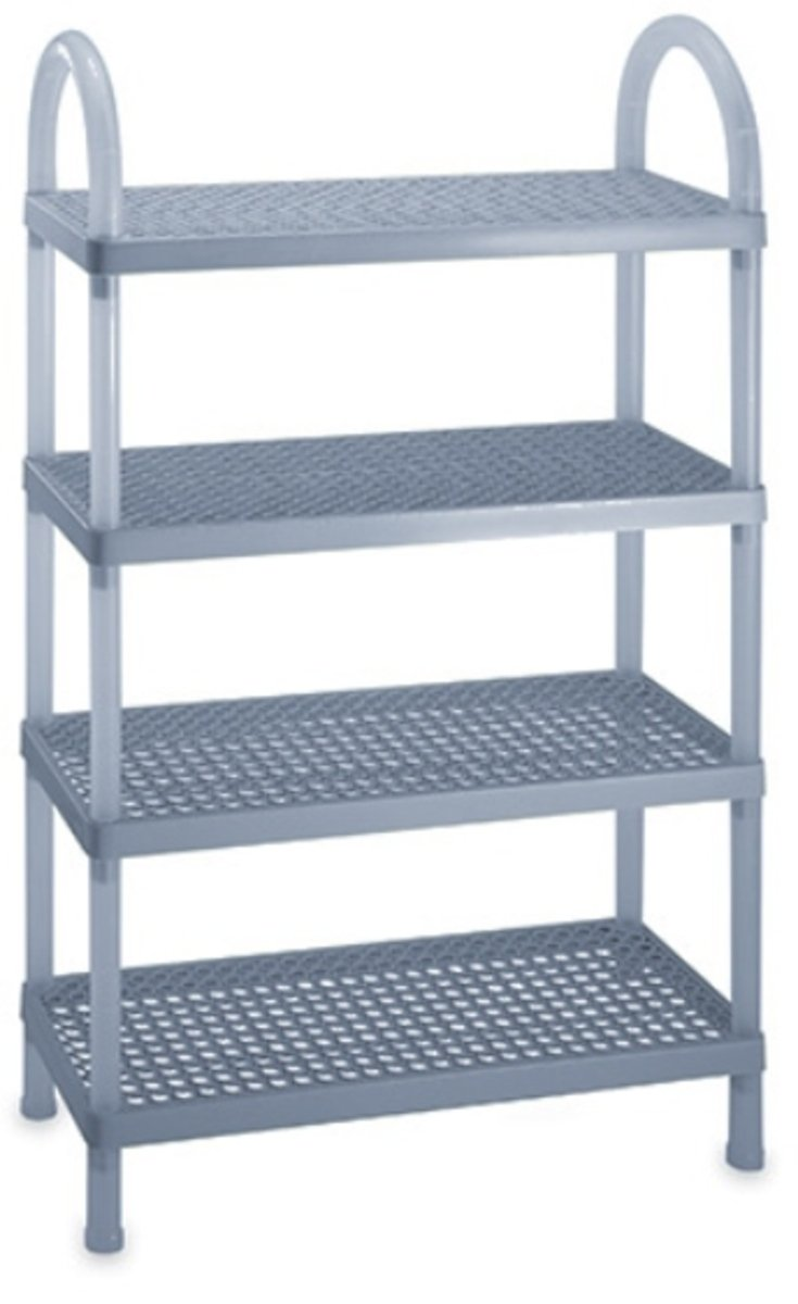 四層長方組合鞋架 (藍色/灰色)(顏色隨機派送)