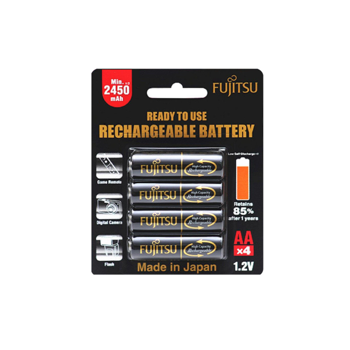 2450mAh AA x 4Pcs  (made in Japan) Ni-HM rechargeable battery