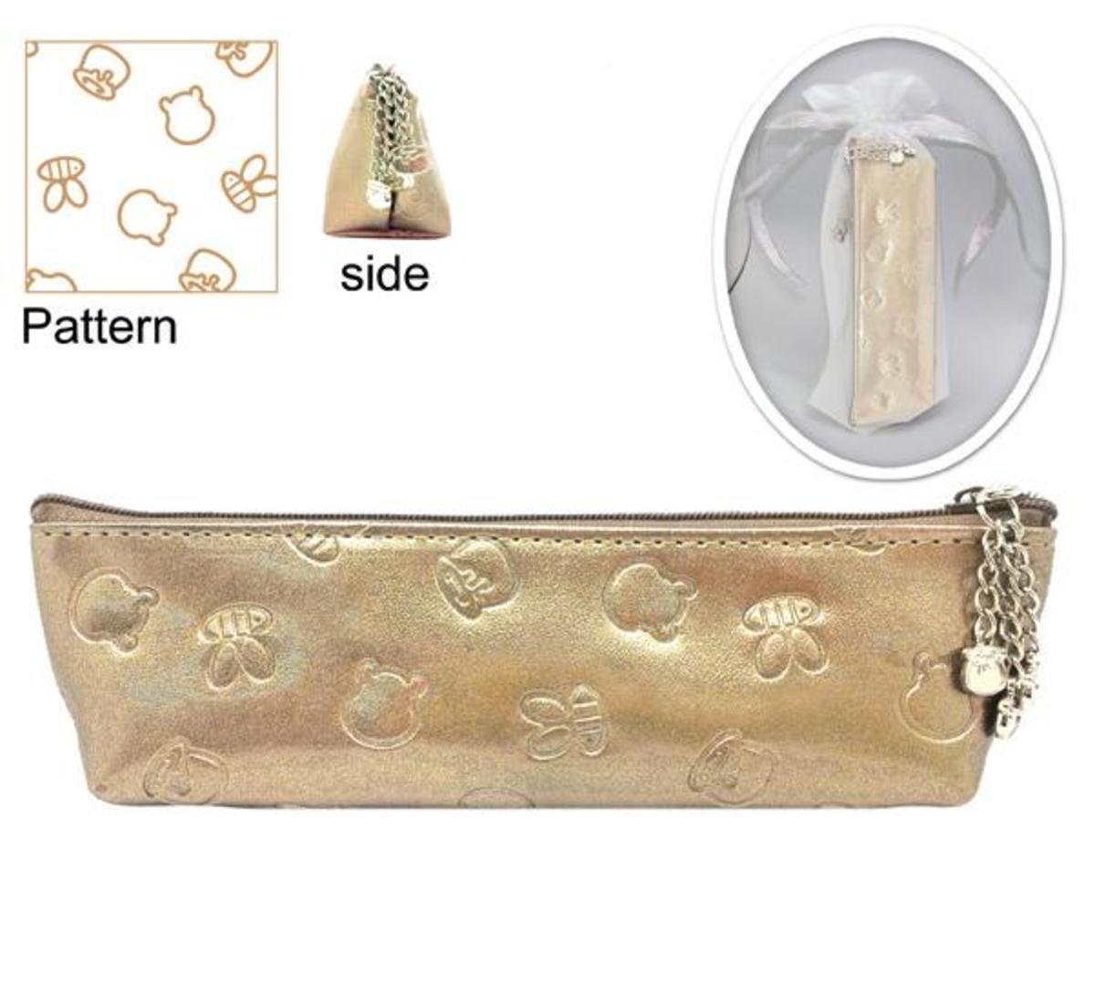小熊維尼 PU 筆袋型化妝包 (香檳金)