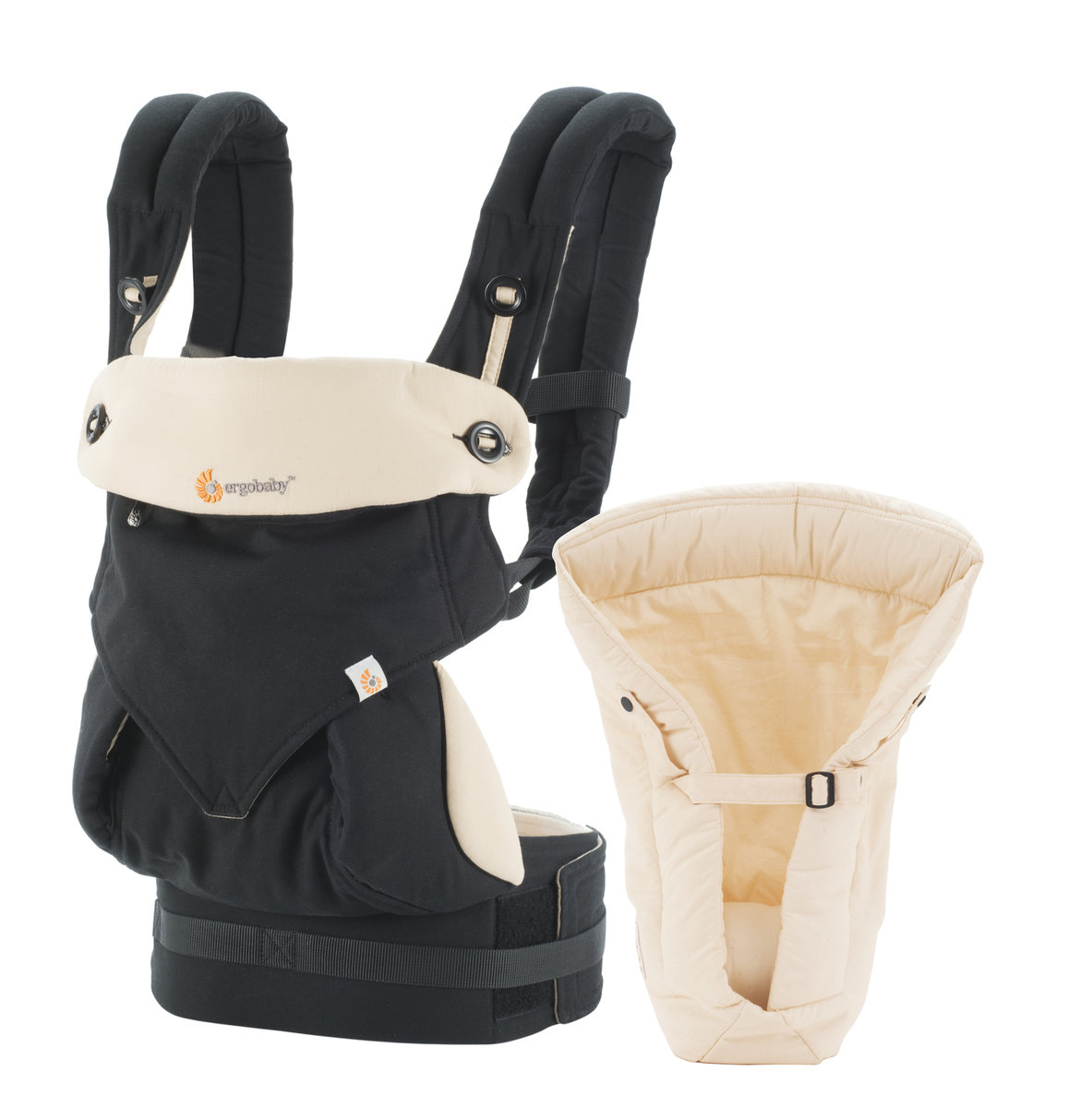 四式360嬰兒揹帶加保護墊套裝 - 黑色/駝色