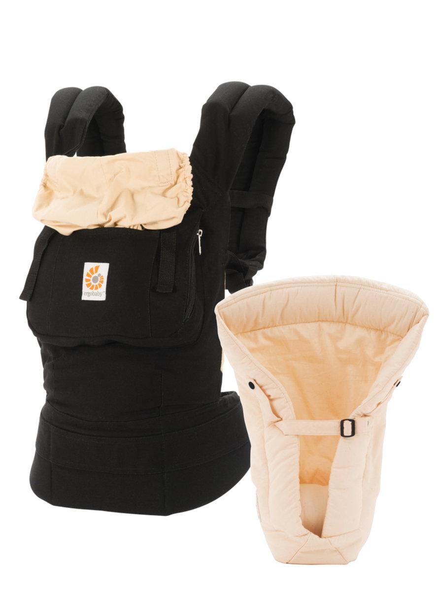 基本款嬰兒揹帶加保護墊套裝 - 黑色/駝色 (2015年包裝)