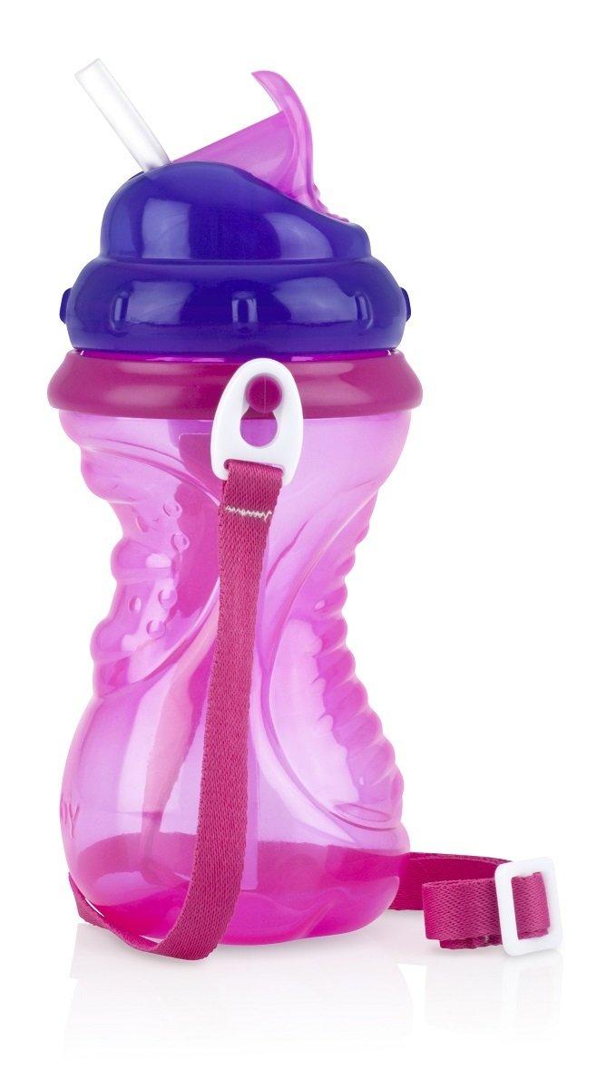 細吸管揹帶水壺 - 粉紅