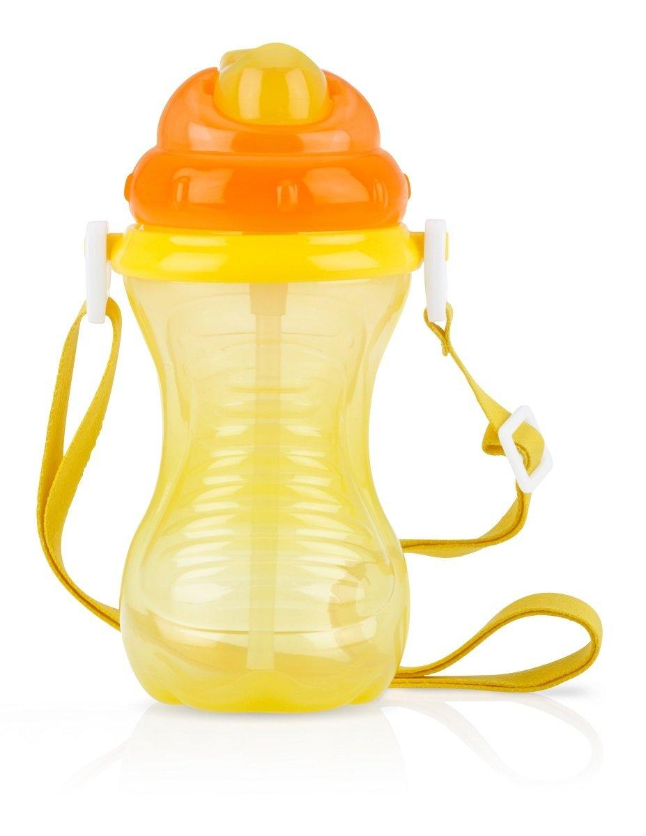 細吸管揹帶水壺 - 黃