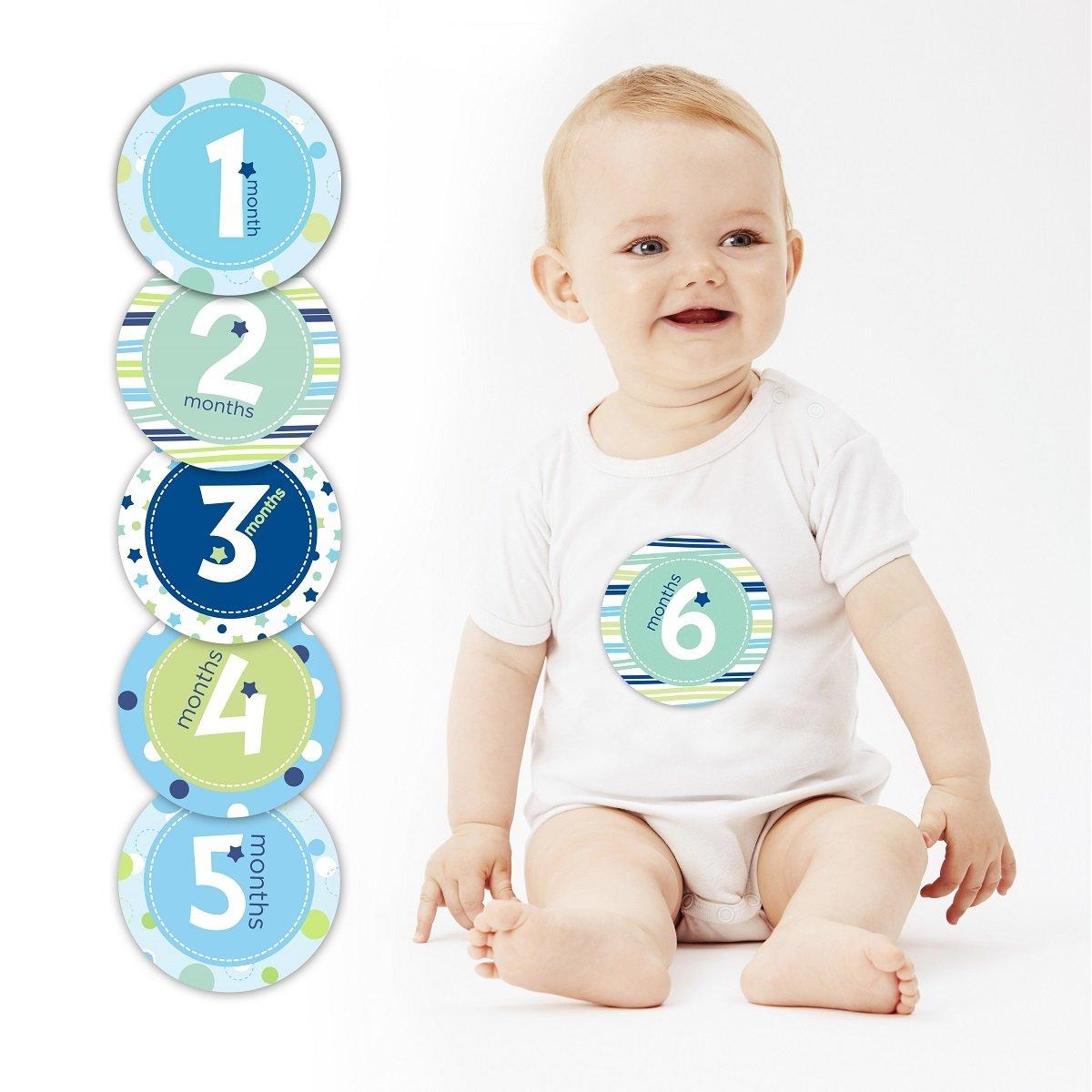 第一年寶寶成長月份貼紙 - 藍色