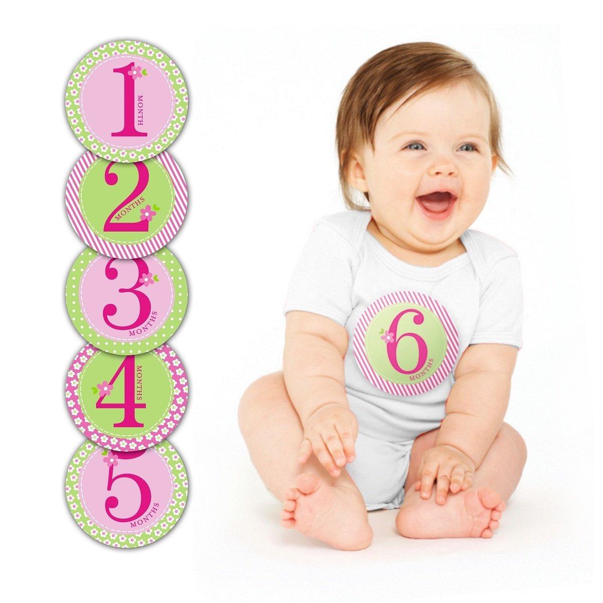 第一年寶寶成長月份貼紙 - 粉紅色