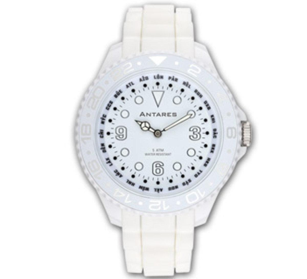 糖果色世界時間手錶 - 白