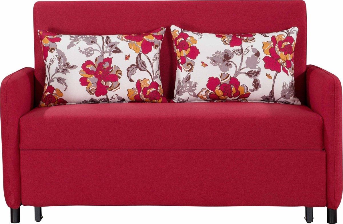 簡約布藝梳化床連抱枕(布套可拆洗) (紅色)