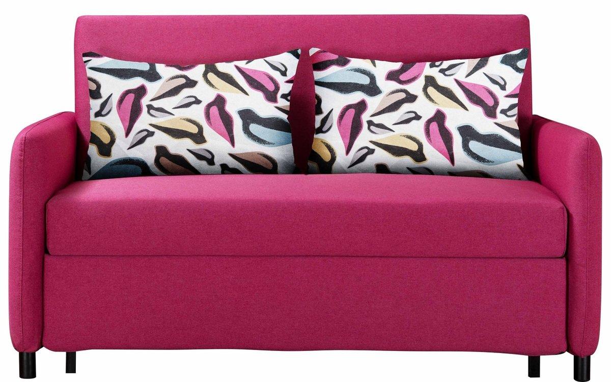 簡約布藝梳化床連抱枕(布套可拆洗) (粉紅色)