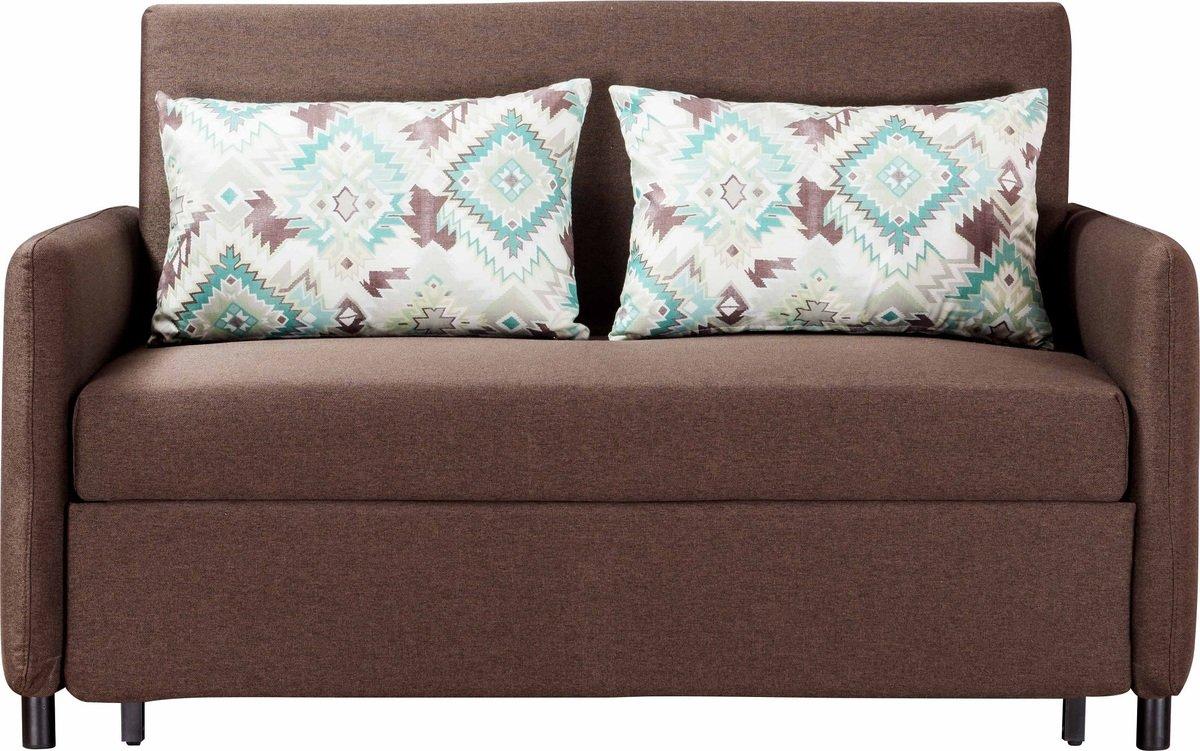 簡約布藝梳化床連抱枕(布套可拆洗) (啡色)