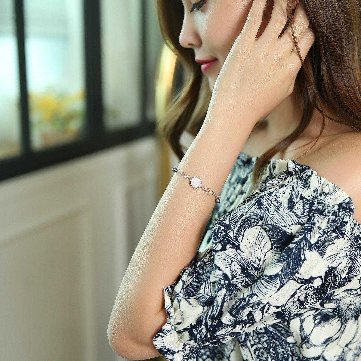 「粉紅貝母玫瑰」淡水珠手鏈 -925 純銀