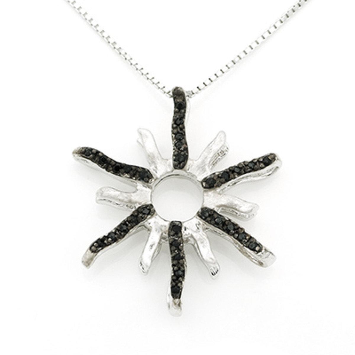 太陽黑色鋯石項鏈 (16 吋) - 925 純銀