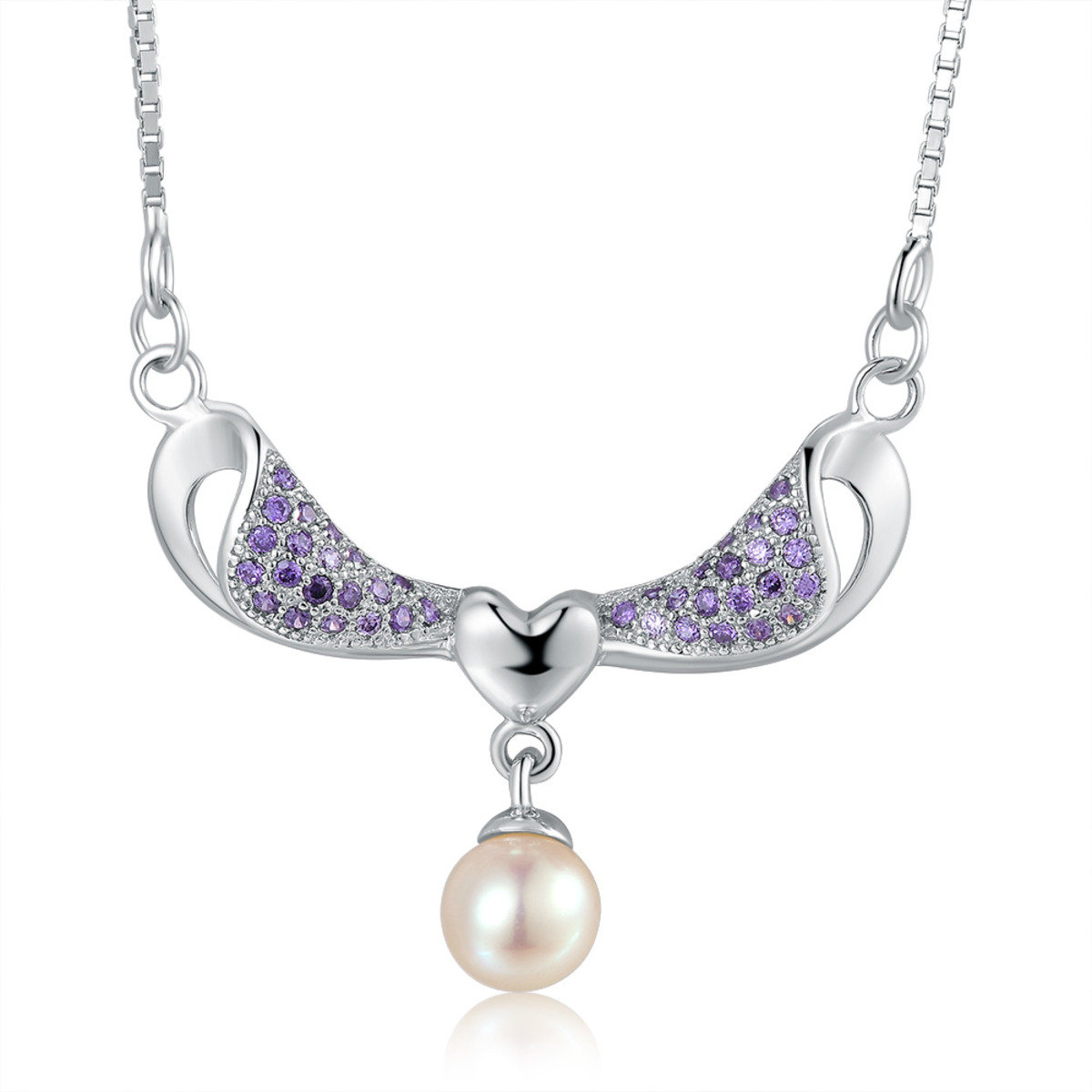 珍珠紫色鋯石項鏈 - 925 純銀