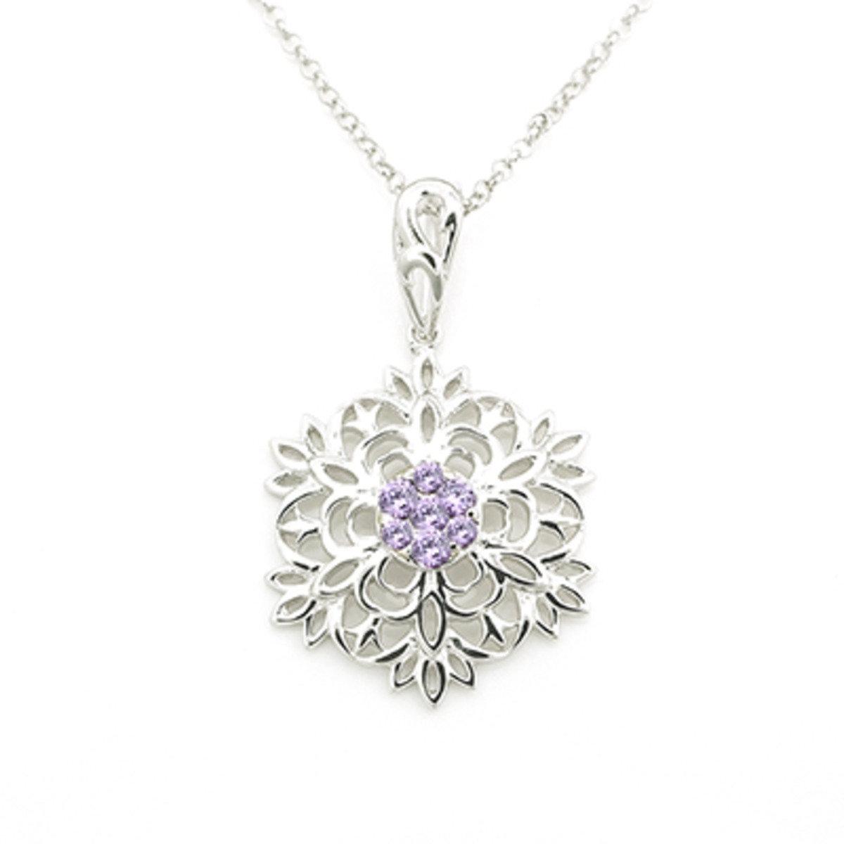 紫色鋯石雪花項鏈 (22 吋) - 925 純銀