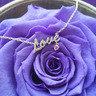 Be Loved 粉紅藍寶石「Love」項鍊 - 925 純銀