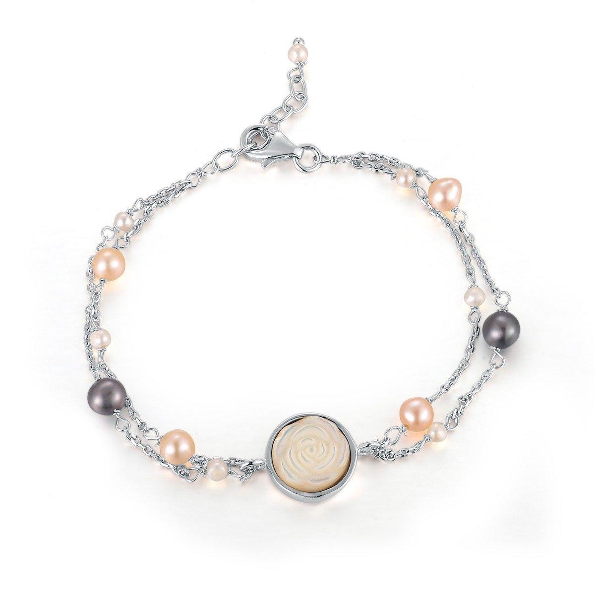 「天使白貝母玫瑰」淡水珠手鏈 -925 純銀