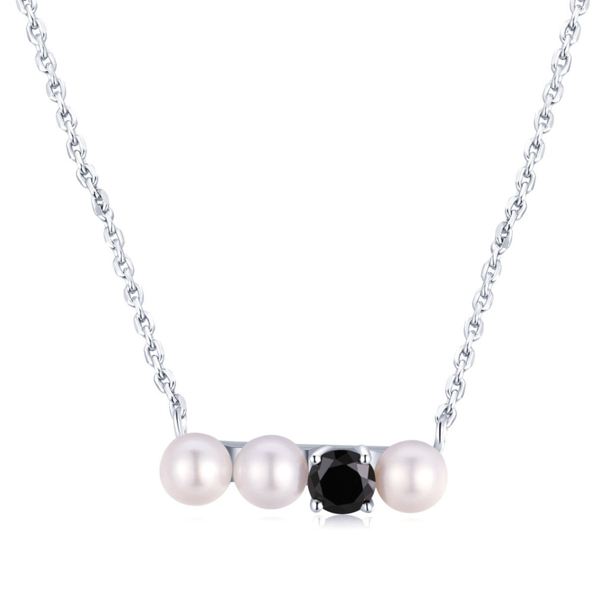 韓風淡水珍珠黑色鋯石項鏈