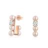 韓風淡水珍珠香檳色鋯石耳環