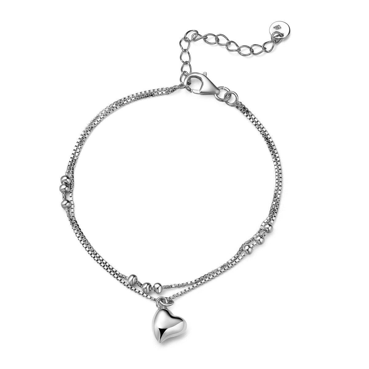 純愛- 925 純銀手鏈配心形吊飾