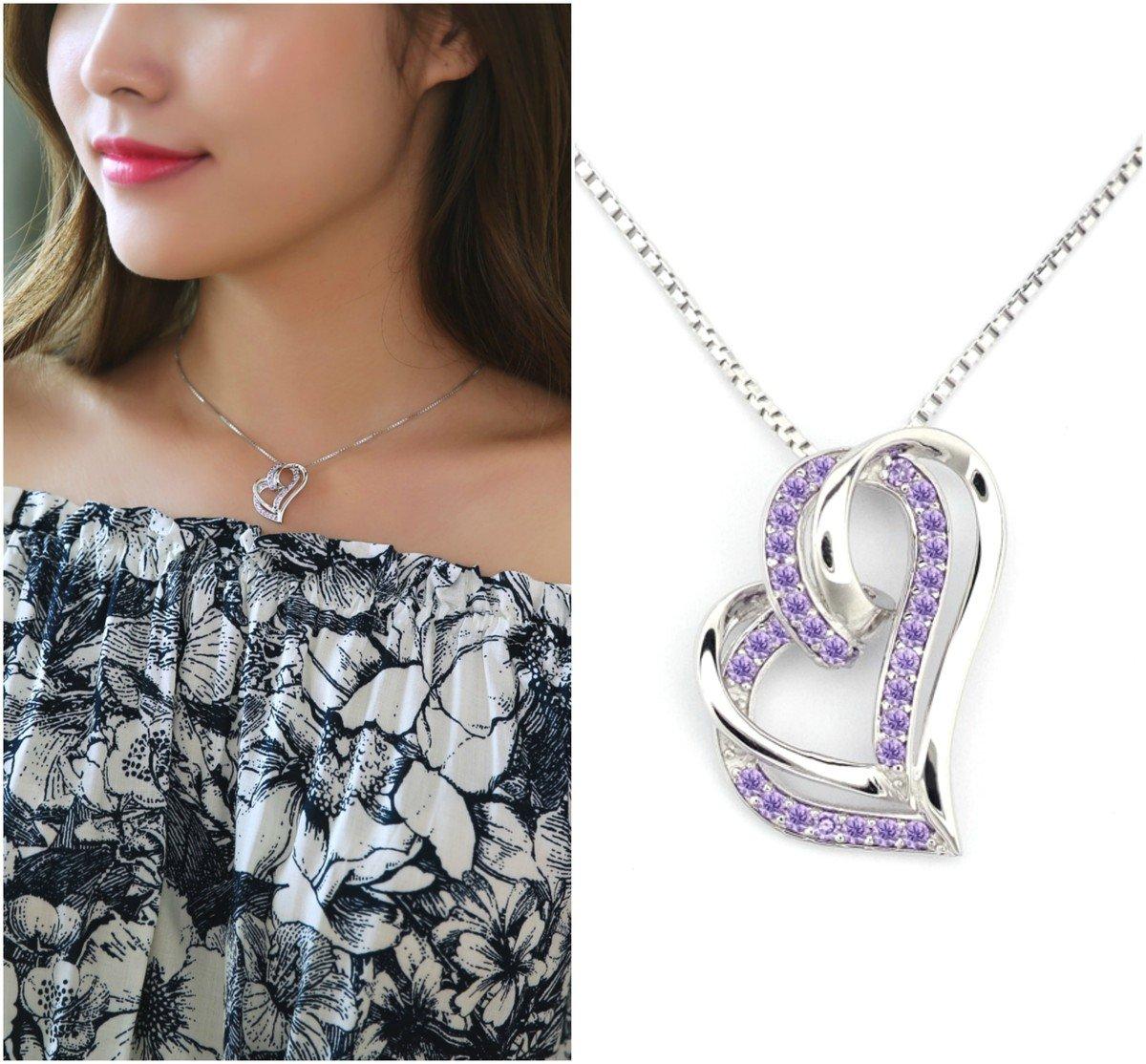 「傾心」紫色鋯石項鏈 - 925 純銀