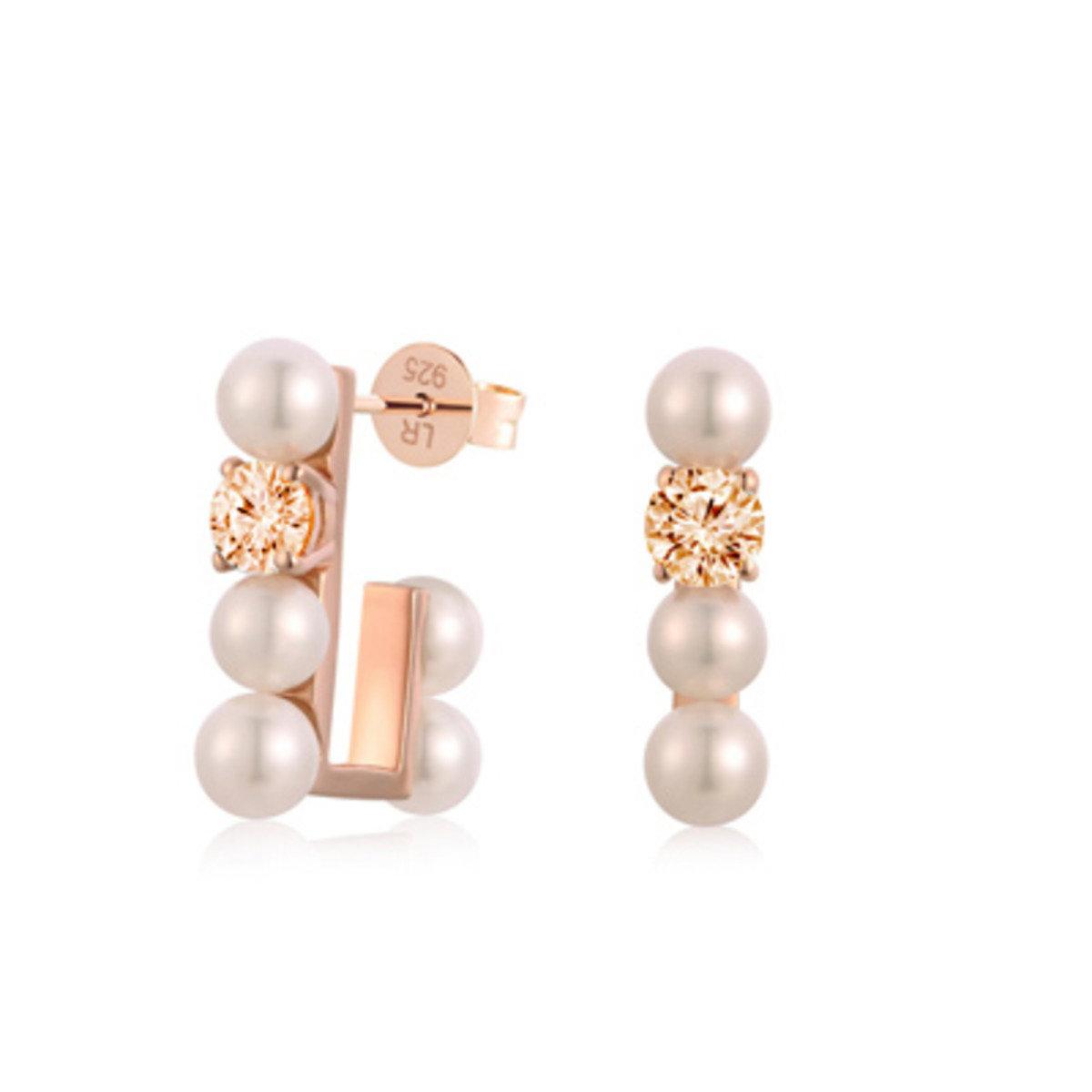 925 純銀韓風淡水珍珠香檳色鋯石耳環