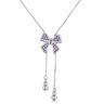 甜蜜起舞紫色蝴蝶結項鏈- 925 純銀