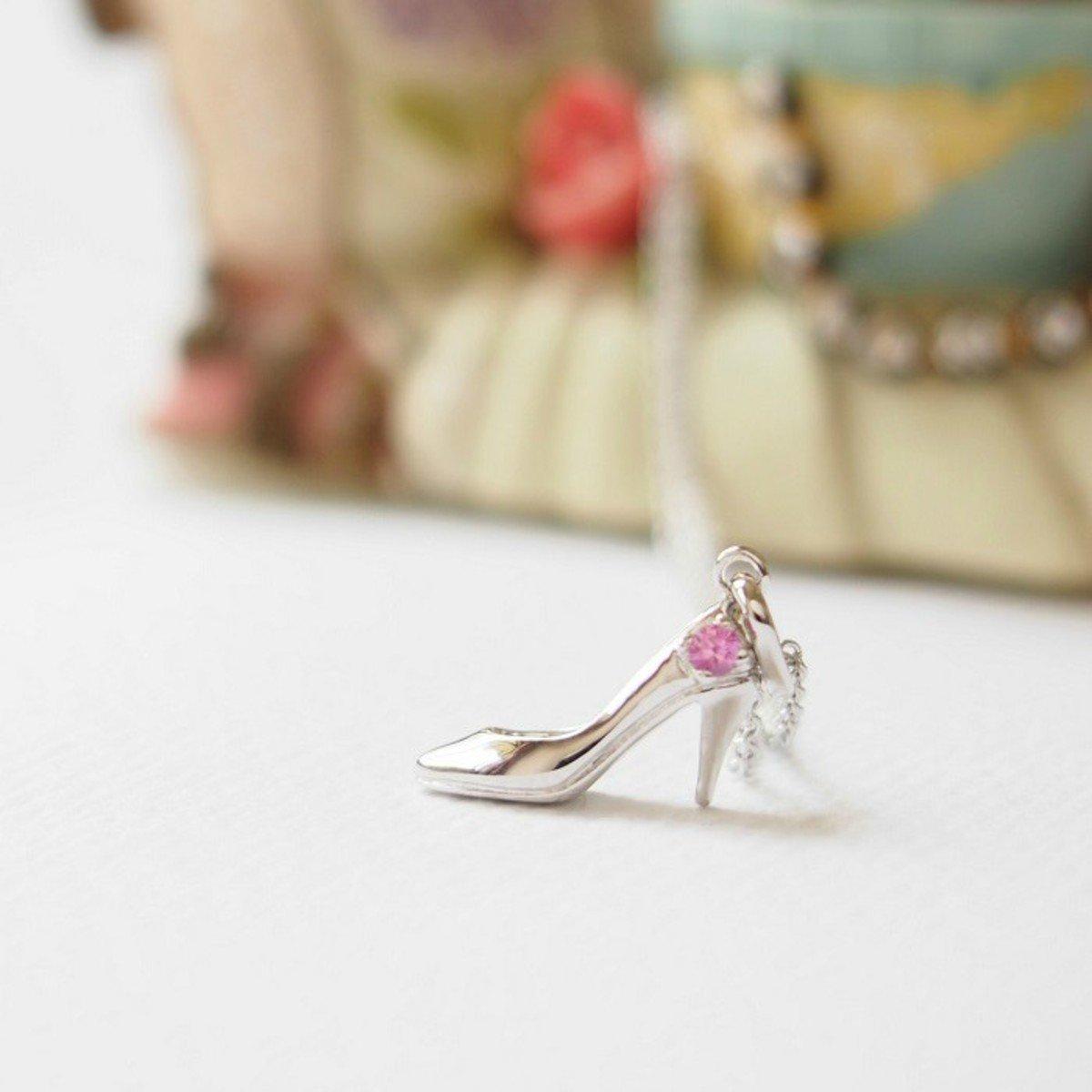 高跟鞋粉紅藍寶石項鏈 - 925 純銀