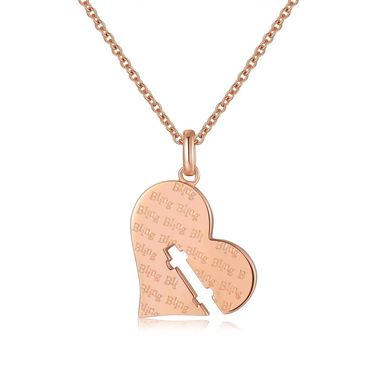 一往情深玫瑰金色心形項鏈-- 925 純銀
