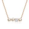 韓風淡水珍珠香檳色鋯石項鏈