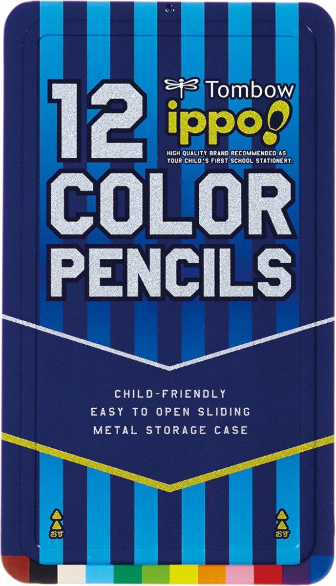 IPPO-兒童木顏色 12色 (藍色鐵盒裝)
