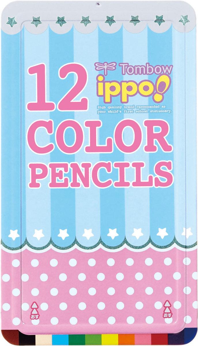 IPPO 兒童木顏色 12色 (粉紅鐵盒裝)