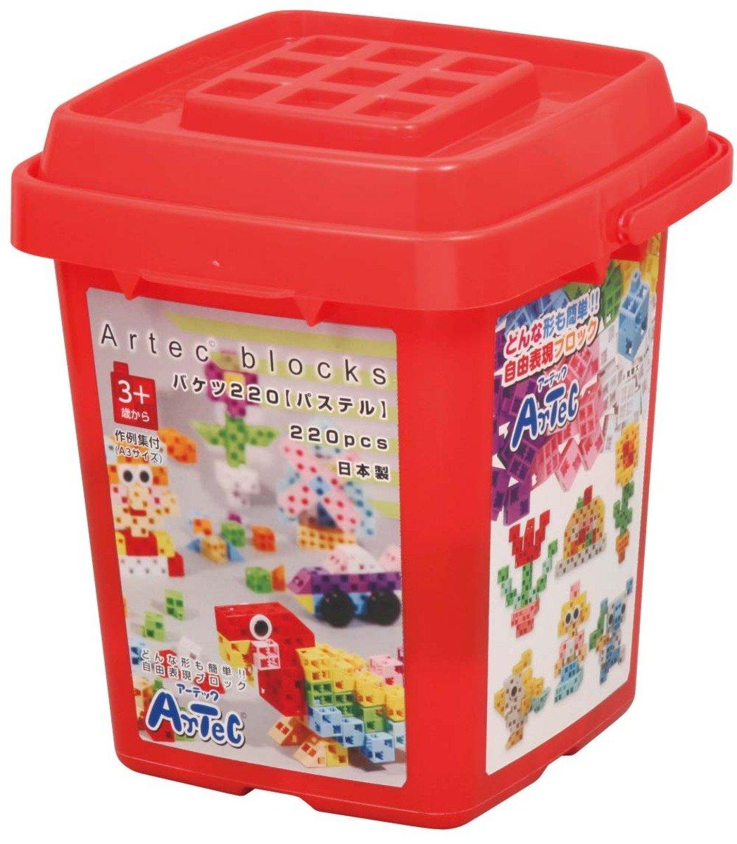 創意立體積木 (粉色桶裝.220件)