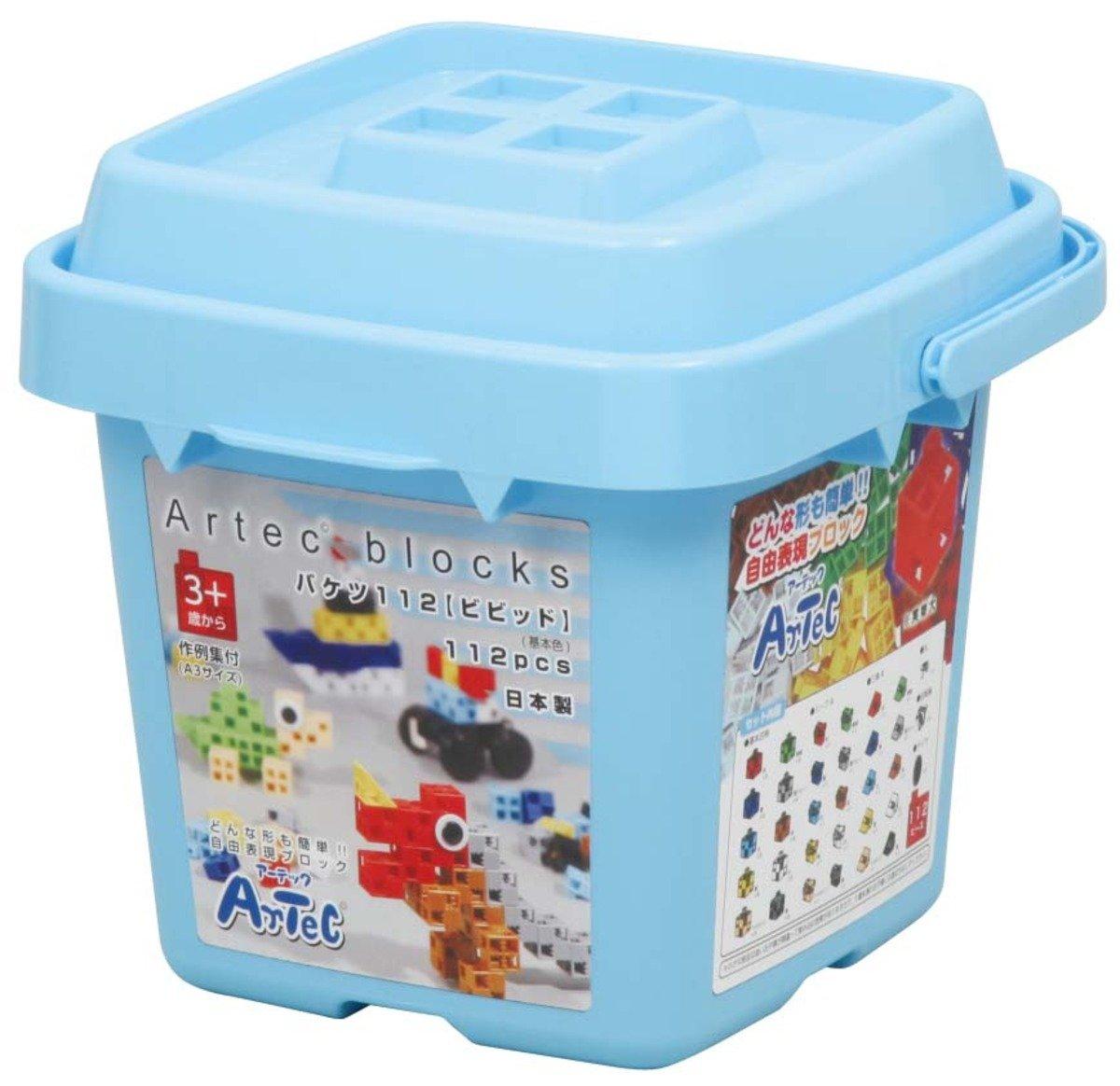 創意立體積木 (鮮色桶裝.112件)