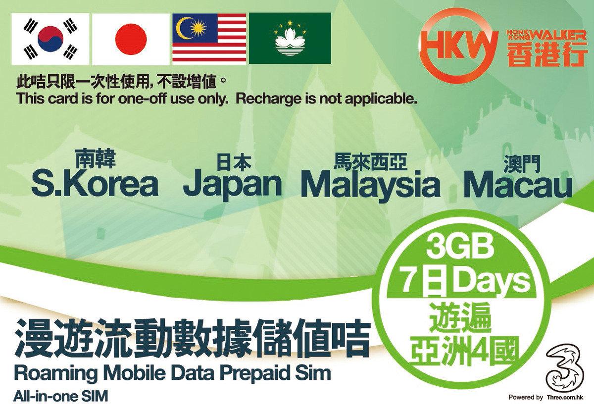 $175購買日本,澳門,韓國,馬來西亞四國上網卡4G LTE (3GB)