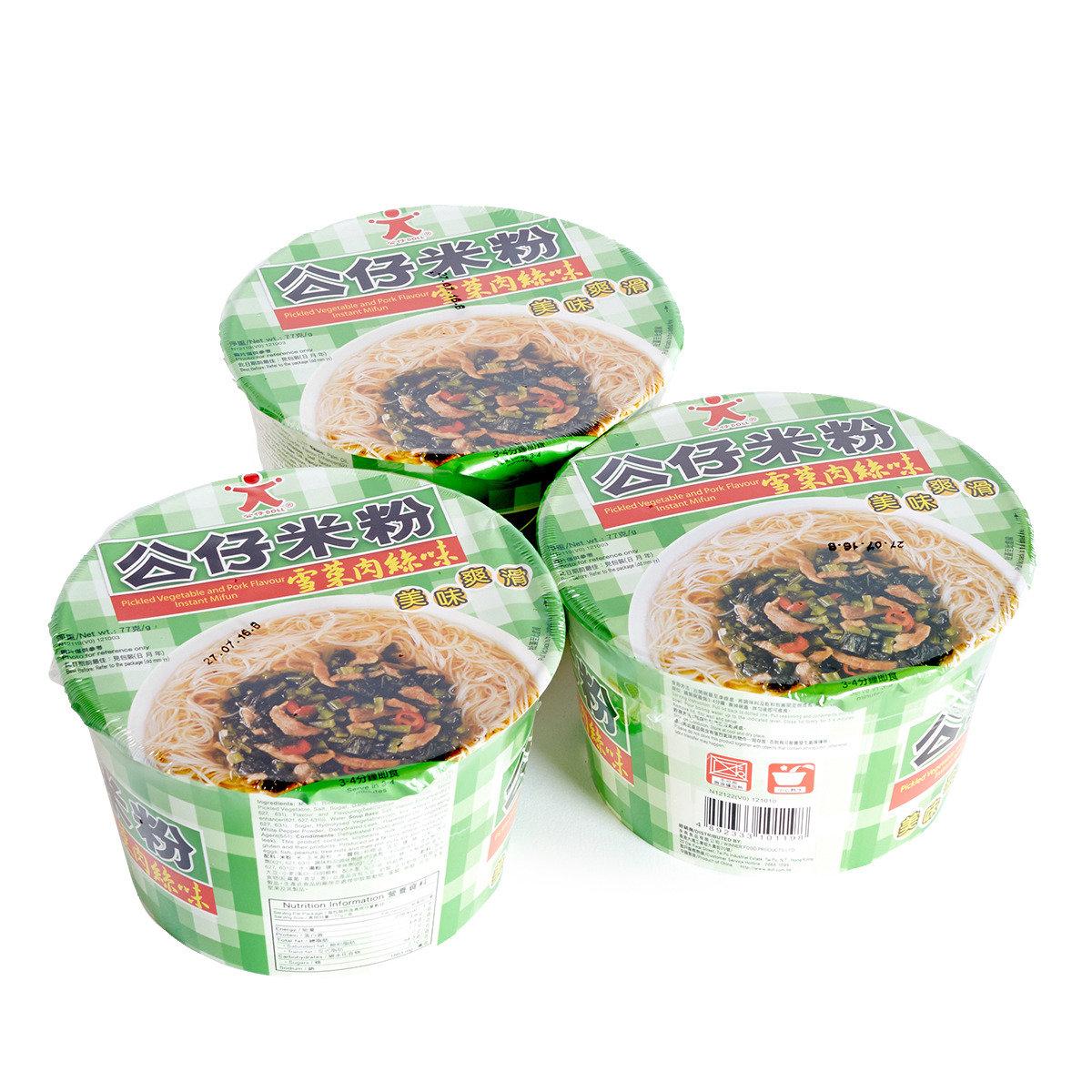 雪菜肉絲味公仔碗米粉