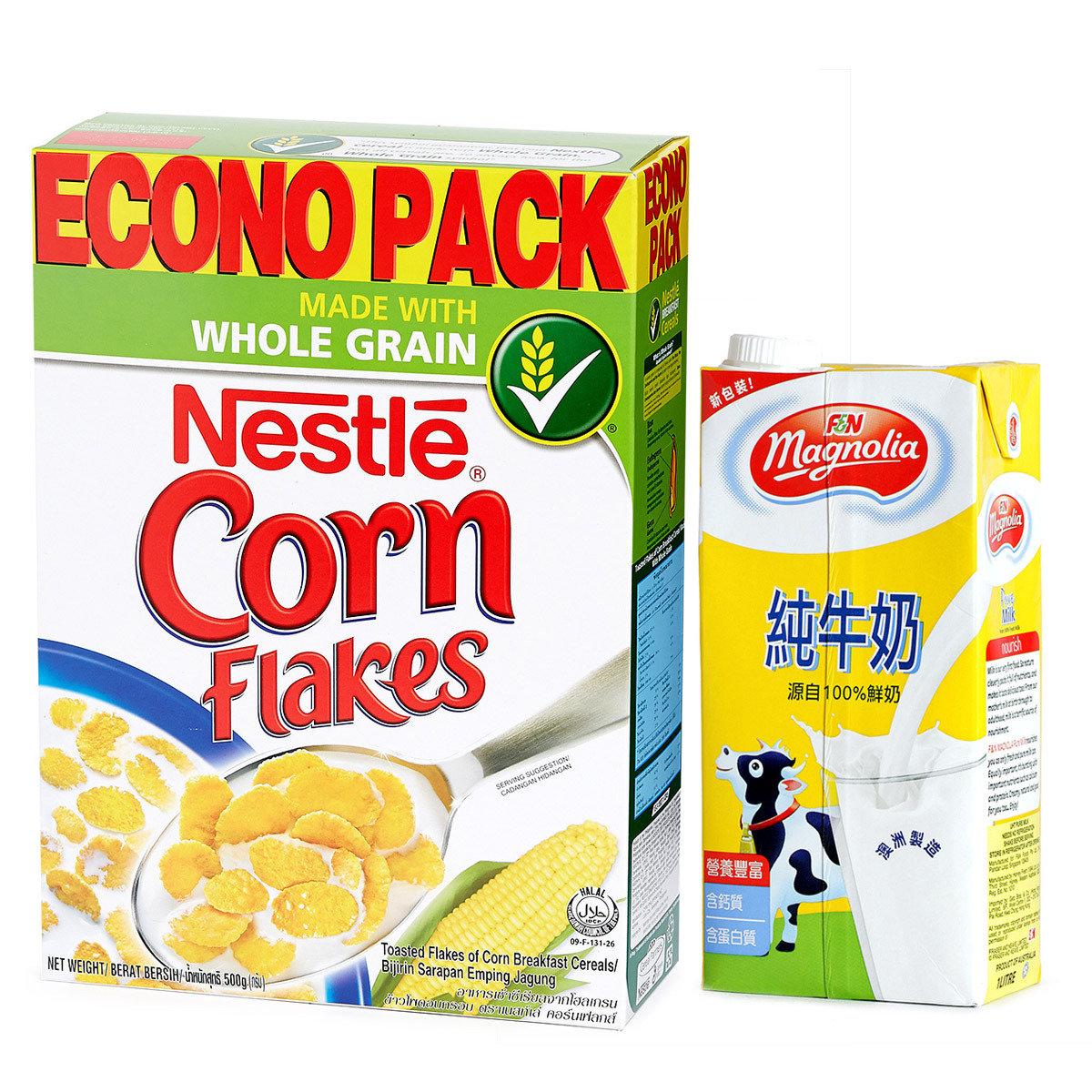 粟米片 及 純牛奶